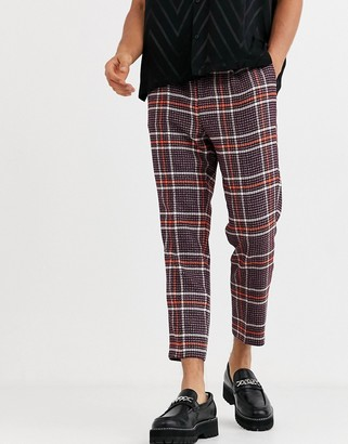 ASOS DESIGN skinny smart trousers in wool mix check in purple