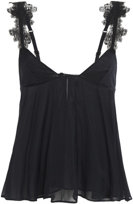 La Perla Embroidered Tulle-trimmed Silk-blend Chiffon Camisole