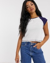 Brave Soul contrast raglan cropped t-shirt in white