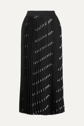 Balenciaga Pleated Printed Stretch-knit Midi Skirt - Black