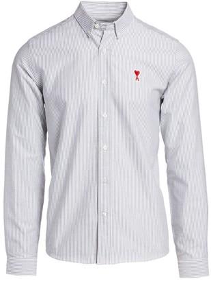 Ami Paris Striped Logo Patch Shirt