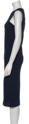 Victoria Beckham Crew Neck Midi Length Dress Blue