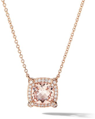 David Yurman Petite Chatelaine Pave Bezel Pendant Necklace in 18K Rose Gold with Morganite