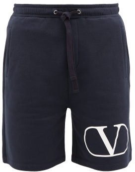 Valentino Logo-print Loopback-cotton Shorts - Mens - Navy White