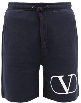Valentino Logo-print Loopback-cotton Shorts - Navy White