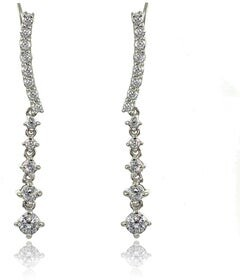 Icz Stonez Sterling Silver Round-cut Cubic Zirconia Dangle Climbing Crawler Earrings