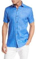 Ermenegildo Zegna Over-Dyed Linen Short-Sleeve Sport Shirt, Blue