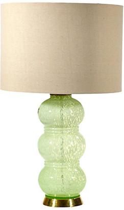 One Kings Lane Vintage French Green Glass Table Lamp - 2-b-Modern