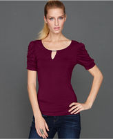 INC International Concepts Petite Top, Short-Sleeve Ruched Hardware Keyhole