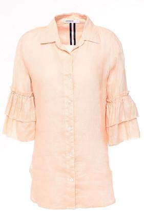 Stateside Frayed Tiered Linen Shirt