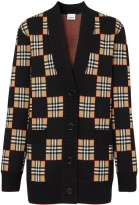 Burberry Beige And Black Check Print Cardigan