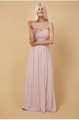 Little Mistress Grace Bridesmaid Blush Embellishment Sweetheart Maxi Dress
