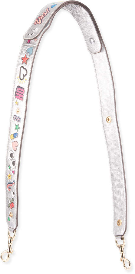 Anya Hindmarch Wink Sticker-Print Shoulder Strap for Handbag, Gray