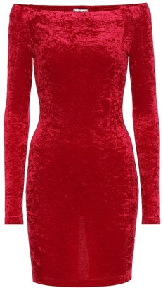 Balenciaga Velvet off-shoulder minidress