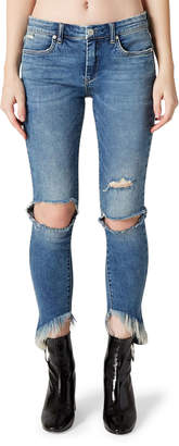Blank NYC The Sullivan Ripped Cropped Skinny Jeans w/ Frayed Hem
