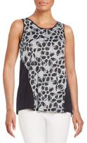 Kensie Draped Floral Print-Knit Top
