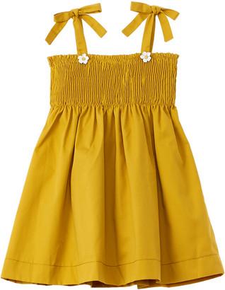 Oscar de la Renta Twill Gabardine Smocked Dress