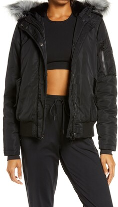 Blanc Noir Flight Hooded Bomber Jacket with Faux Fur Trim