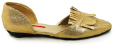 C Label Gold Metallic Fringe Hudson Flat