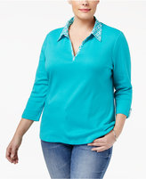 Karen Scott Plus Size Printed-Trim Top, Only at Macy's
