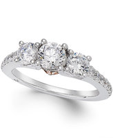 Marchesa Certified Diamond Three-Stone Ring (1-1/2 ct. t.w.) in 18k White Gold