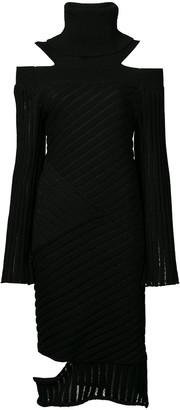 Valery Kovalska Ribbed Cold Shoulder Dress