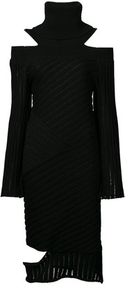 Valery Kovalska Ribbed Cold Shoulder Dress
