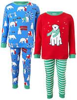 John Lewis Children's Polar Bear Pyjamas, Pack of 2, Blue/Multi