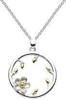Kit Heath Sterling Silver and Gold Plate Wood Rose Bud Necklace on 18 inch/46 cm Chain
