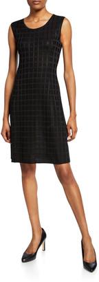 Misook Grid Textured Sleeveless Dress