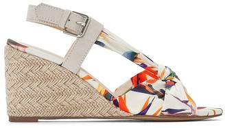 La Redoute Collections Floral Print Woven Wedge Heel Sandals