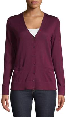 Lord & Taylor V-Neck Basic Merino Wool Cardigan