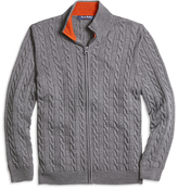 Brooks Brothers Merino Wool Full-Zip Cable Sweater
