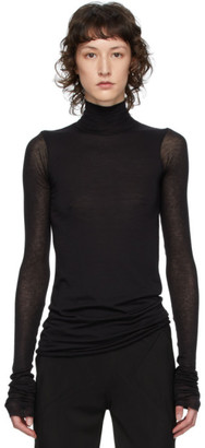Rick Owens Lilies Black Heavy Jersey Long Sleeve T-Shirt