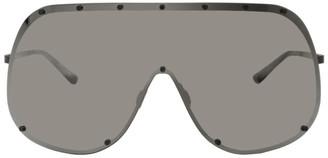 Rick Owens Black and Gold Shield Sunglasses