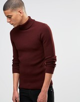 Asos Muscle Fit Ribbed Roll Neck In Burgundy