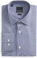David Donahue Men's Trim Fit Plaid Dress Shirt