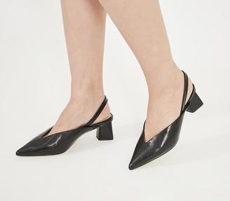 Office Melbourne Feature Heel Court Shoes Black Croc Mix