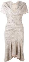 Talbot Runhof sparkly flutter dress - women - Polyester/Cupro/Spandex/Elastane - 34