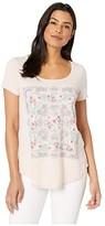 Lucky Brand Scarf Print Tee (Rose Smoke) Women's T Shirt