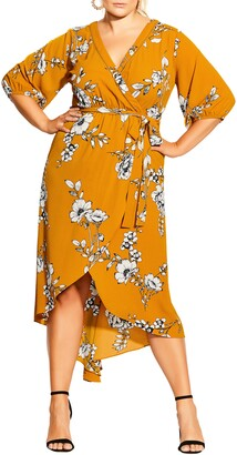 City Chic Serene Floral Wrap Front Dress