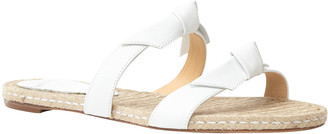 Alexandre Birman Clarita Metallic Leather Flat Espadrille Sandals