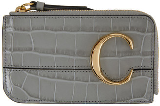 Chloé Grey Croc Small C Zip Around Card Holder