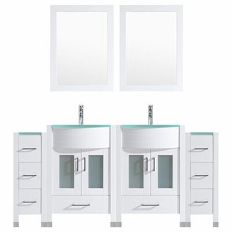 "Orren Ellis Marguez Modern 72"" Double Bathroom Vanity Set with Wood Frame Mirror Orren Ellis Base Finish: White"