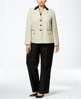 Le Suit Plus Size Three-Button Colorblocked Pantsuit
