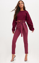PrettyLittleThing Red Stripe Paperbag Skinny Trousers