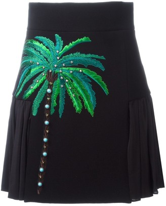 Fausto Puglisi Embroidered Side Pleat Skirt