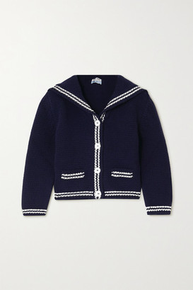 Miu Miu Cropped Intarsia Wool Cardigan - Navy