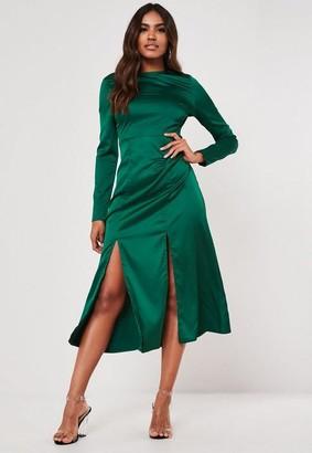 Missguided Teal Satin Double Split Midi Dress