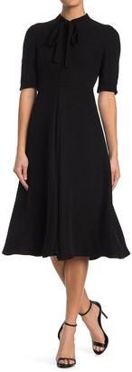 Valentino Tie Neck Elbow Sleeve A-Line Silk Midi Dress
